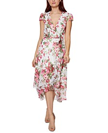 Petite Floral-Print Wrap Dress
