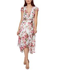 Petite Floral-Print Wrap Dress