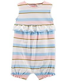 Baby Girls Striped Ruffle Cotton Romper