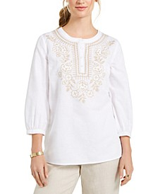 Metallic-Embroidery Linen-Blend Tunic, Created for Macy's