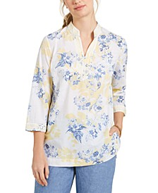 Printed Embroidered Voile Linen-Blend Tunic, Created for Macy's