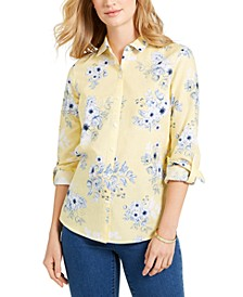 Floral-Print Linen-Blend Shirt, Created for Macy's
