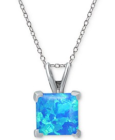"Cubic Zirconia Square 18"" Pendant Necklace in Sterling Silver"
