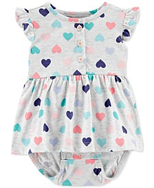 Baby Girls Heart-Print Cotton Sunsuit