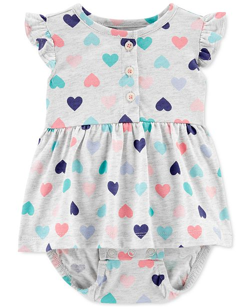 Carter's Baby Girls Heart-Print Cotton Sunsuit