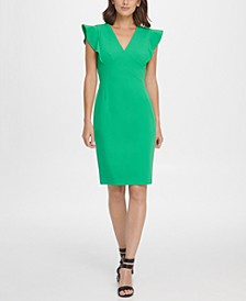 V-Neck Ruffle Cap Sleeve Sheath