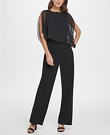 S/L Jumpsuit with Chiffon Overlay