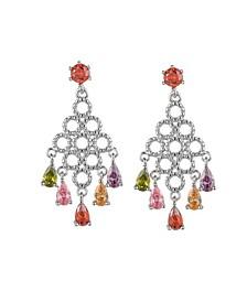 Silver-Tone Multicolor Chandelier Earrings