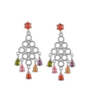 A & M Silver-Tone Multicolor Chandelier Earrings