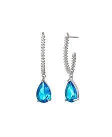 Silver-Tone Aqua Tear Drop Earrings