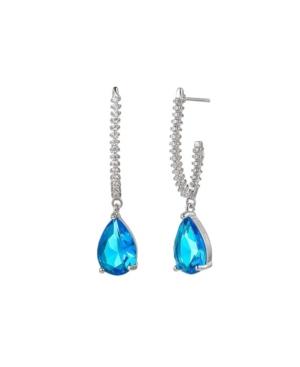 A & M Silver-Tone Aqua Tear Drop Earrings