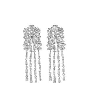 A & M Silver-Tone Flower Chandelier Earrings