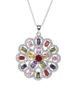 A & M Silver-Tone Multicolored Pendant Charm Necklace