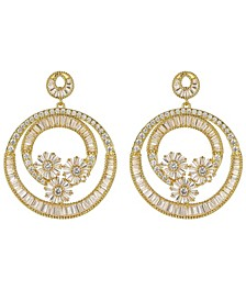 Gold-Tone Flower Hoop Earrings
