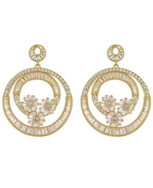 A & M Gold-Tone Flower Hoop Earrings