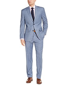 Men's Slim-Fit Stretch Light Blue Windowpane Suit