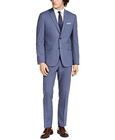 Men's Slim-Fit Stretch Light Blue Grid Suit