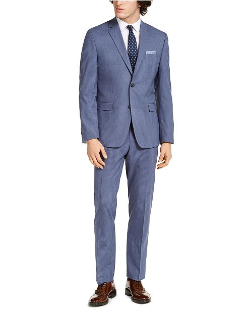 Perry Ellis Men's Slim-Fit Stretch Light Blue Grid Suit