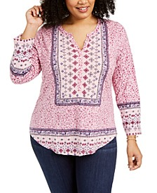 Plus Size Border-Print Top, Created For Macy's
