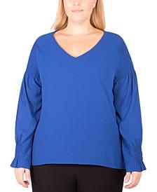 Plus Size V-Neck Smocked-Sleeve Top