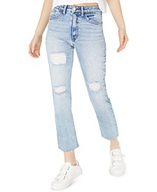 Juniors' Cropped High Rise Slim Straight-Leg Jeans