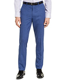 Men's Slim-Fit Stretch Medium Blue Plaid Suit Pants, Created for Macy's