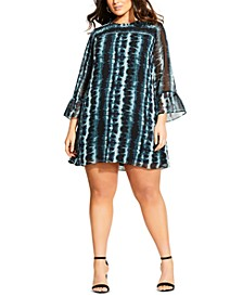 Trendy Plus Size Striped Tie-Dye Dress