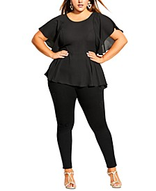 Trendy Plus Size Romantic Flutter-Sleeve Top