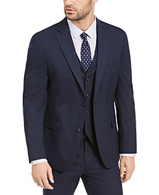 Men's Slim-Fit Stretch Navy Blue Solid Suit Jacket, Created For Macy's