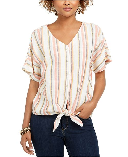 Style & Co Striped Tie-Front V-Neck Top, Created for Macy's
