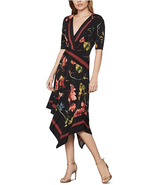 BCBGMAXAZRIA Printed Faux-Wrap Dress