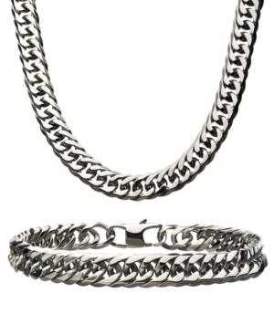 "Double Curb Chain 8"" Bracelet and 22"" Necklace Set"