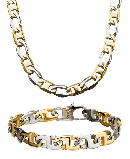 "INOX Two Tone Mariner Link 8"" Bracelet and 22"" Necklace Set"