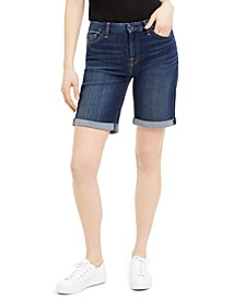 Denim Bermuda Shorts With Rolled Cuffs
