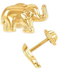 Elephant Stud Earrings in 10k Gold