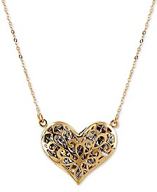 """Two-Tone Puff Heart 17"""" Pendant Necklace in 14k Gold & Rhodium-Plate"""