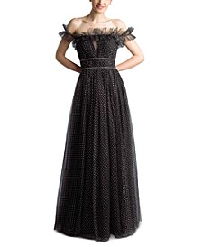 Off-The-Shoulder Polka Dot Tulle Gown