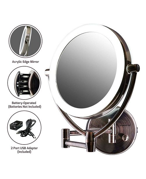 "OVENTE 7.5"" LED Lighted Wall Mount Makeup Mirror"