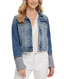 Rolled-Cuff Denim Trucker Jacket