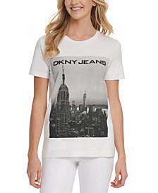 Cityscape Graphic Print Logo T-Shirt