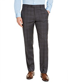 Men's Classic-Fit Airsoft Stretch Charcoal Plaid Suit Pants