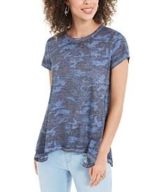 Camo-Print Handkerchief-Hem T-Shirt, Created For Macy's