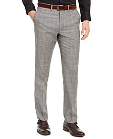 Men's Slim-Fit Stretch Light Gray Plaid Suit Pants