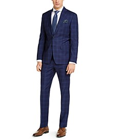 Men's Slim-Fit Stretch Blue Plaid Suit Separates
