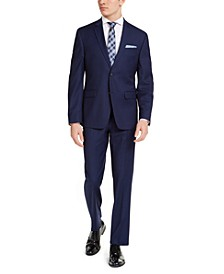 Men's Slim-Fit Stretch Blue Solid Suit
