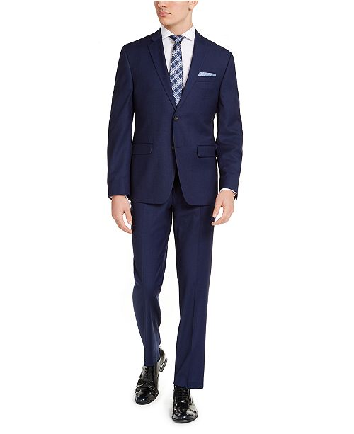 Perry Ellis Men's Slim-Fit Stretch Blue Solid Suit