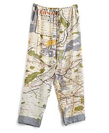 New York Map Pajama Pants with Drawstring Closure