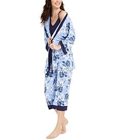 Floral-Print Robe, Cami & Capri Pants 3pc Pajama Set