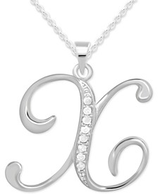 """Diamond X Initial 18"""" Pendant Necklace (1/10 ct. t.w.) in Sterling Silver"""