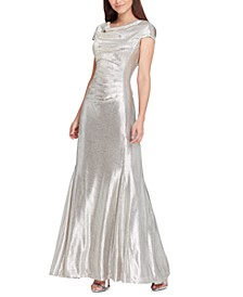 Cowlneck Metallic Gown
